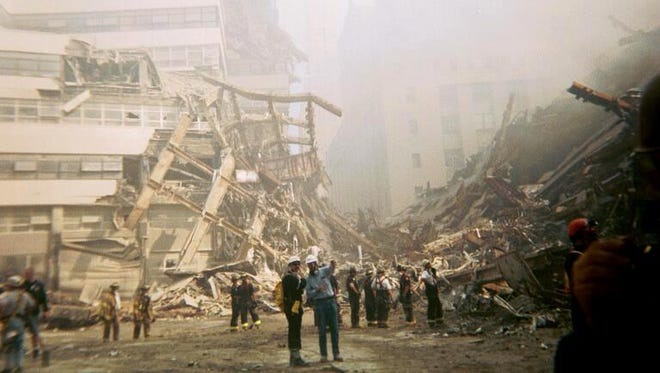 This picture was taken by members of the Indiana Task Force One (INTF-1) during and after their trip to the World Trade Center while providing recovery assistance for 9/11.