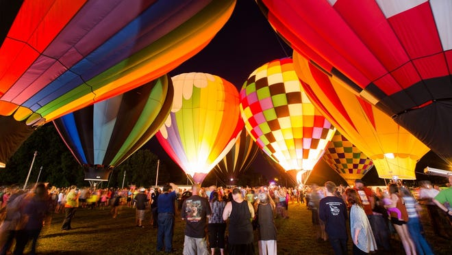 Hot air balloons will light up the night for about 90 minutes Friday at Finley River Park in Ozark.