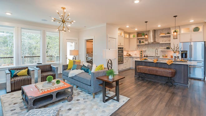 The living room flows right into the kitchen with this open floor plan in the Kinsley model home.
