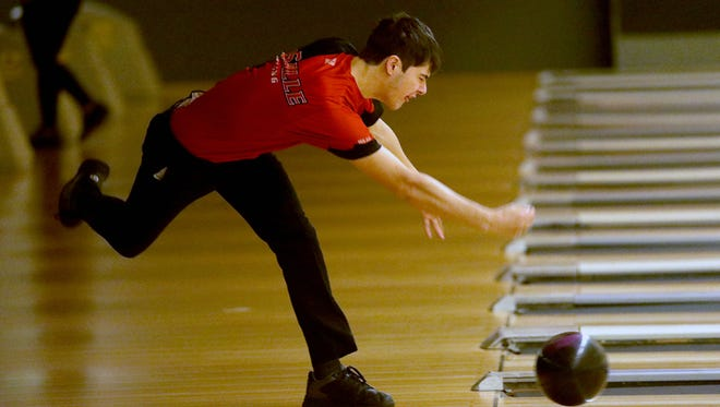 Jacob Toelke of La Salle prepares to deliver the ball at the 2018 All Star Bowling Tournament, hosted by Colerain Bowl and St. Xavier High School, Sunday, April 29,2018.  Bowlers from the GMC, GCL SWOC and Southern Buckeye League participated.