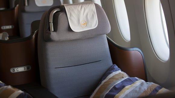 Lufthansa's Airbus A350-900 business-class cabin, seen