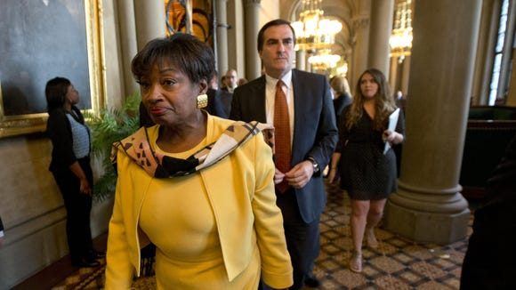 Senate Democratic Conference Leader Andrea Stewart-Cousins, D-Yonkers, followed by Sen. Michael Gianaris, D-Astoria, walk out of legislative session in the Senate Chamber on May 6 at the Capitol in Albany.