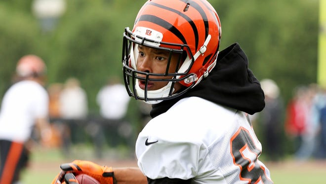 Bengals receiver Marvin Jones makes a catch during Organized Team Activities (OTAs) on Tuesday near Paul Brown Stadium.
