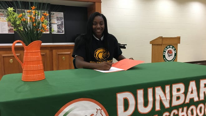 Respect Leaphart is the second Dunbar girls basketball player to sign with the University of Southern Mississippi on Thursday.