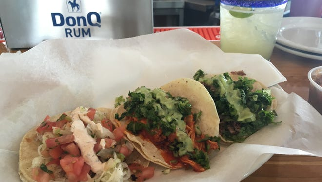 Felipe's Baja style soft tacos are small punches of big flavor, and the Tinga shredded chicken breast is surprisingly spicy.