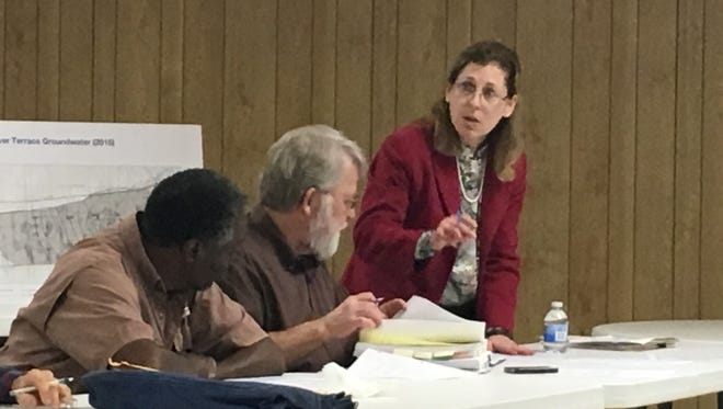 Bonnie Packer, an Army National Guard project manager, speaks to the  Camp Minden Citizen's Advisory Group Tuesday.