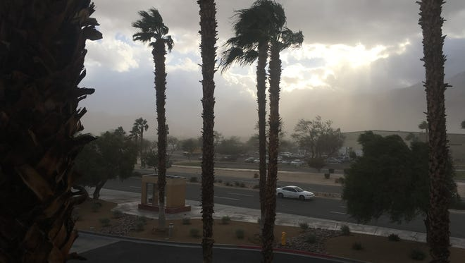 Strong winds blow across Palm Springs on Friday.