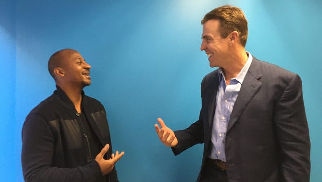 Wayne Sutton, general partner at accelerator BUILDUP (l) and Bill Romanowski, former San Francisco 49er linebacker (r) at USA TODAY in San Francisco Dec. 11, 2015.
