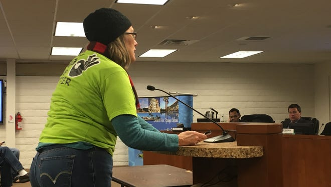 OURWalmart supporter Denise Barlage asked Desert Hot Springs City Council to consider supporting an ordinance for higher retail wages on Dec. 15, 2015
