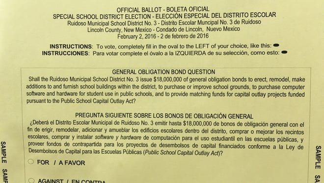 At their meeting Tuesday, the school board reviewed the sample ballot for the Feb. 2 school bond election. Voters are being asked to approve $18 million worth of bonds, most of it to pay for new kindergarten space to replace Nob Hill.