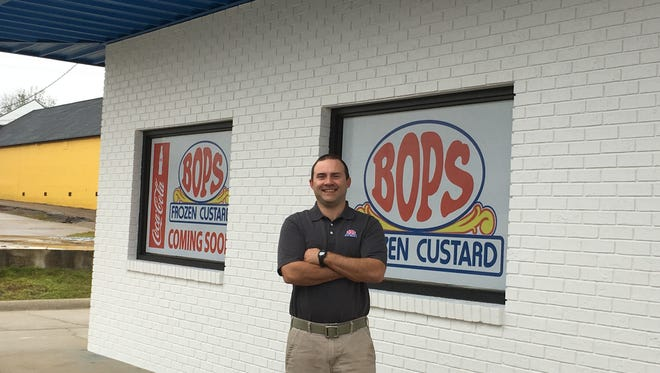 Scott Martin stands outside the new location for Bop's Frozen Custard at 30th Avenue just off Hardy Street.