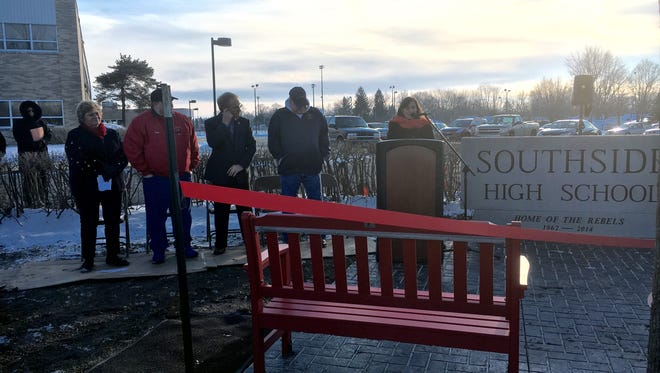 Former Southside High School principal Rebecca Thompson speaks at the sign dedication Jan. 21. It was moved during the merger in August 2014.