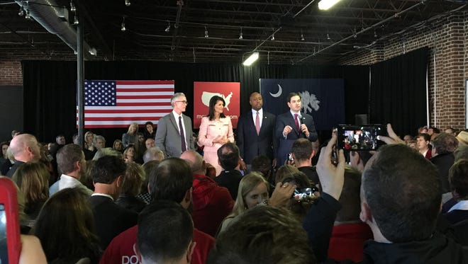 (From left) Rep. Trey Gowdy, Gov. Nikki Haley and Sen. Tim Scott stump for presidential candidate and Sen. Marco Rubio (far right) at Swamp Rabbit Crossfit