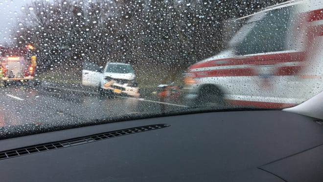 A passerby's photo of the crash on I-195 in Upper Freehold Monday morning.
