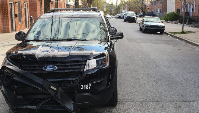 The 14-year-old boy rammed the stolen truck into the police SUV, according to city police.