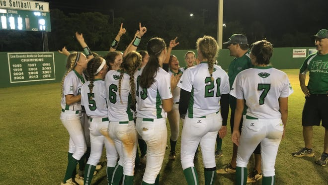 The Fort Myers softball team celebrates a 11-10 win over Charlotte in the Region 7A-3 semifinals Tuesday. The Green Wave will play in its first regional final Friday.