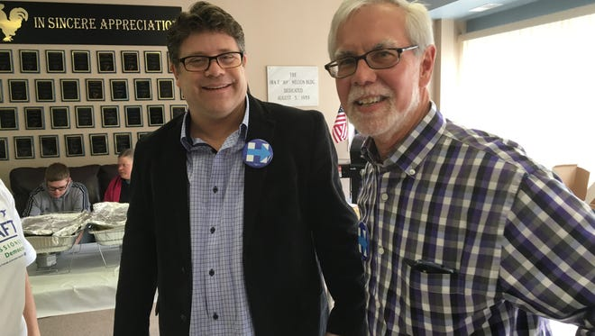 Actor and Hillary Clinton supporter Sean Astin came to Muncie Tuesday. With him here is state Sen. Tim Lanane.