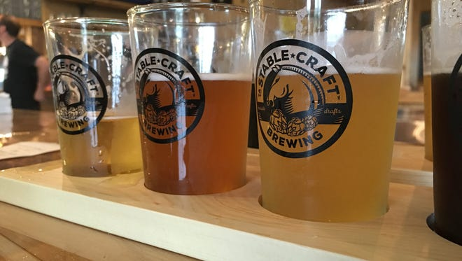 A flight of beer from Stable Craft Brewing outside of Waynesboro.
