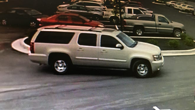 Police in Speedway believe people in this Chevrolet Suburban broke into several vehicles in parking lots near Indianapolis Motor Speedway on Friday.