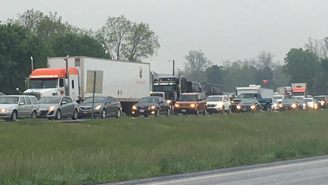 Traffic on Route 13 is backed up for several miles south of Princess Anne after a crash Tuesday.