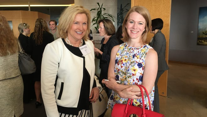 Arizona business leaders mingle at the breakfast hosted by Republic Media on Wednesday, May 25, 2016. Carol Poore (left), vice president of development at BioAccel and Joy Seitz, CEO of American Solar and Roofing.