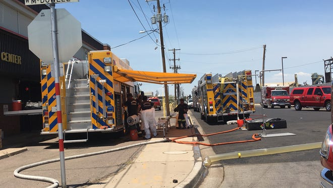 Phoenix fire crews were working to clear up a hazmat call at a scrap yard in central Phoenix.
