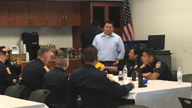 Assemblyman Eduardo Garcia honored departing Indio Police Chief Richard Twiss at a Saturday, June 11 pancake breakfast.