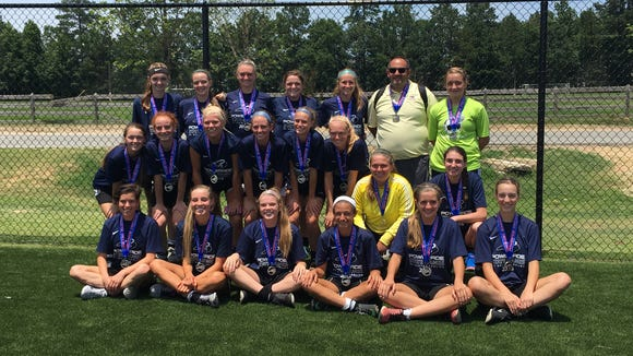 The West girls were the second-place team at the Powerade State Games of North Carolina soccer tournament which ended Sunday in Raleigh.