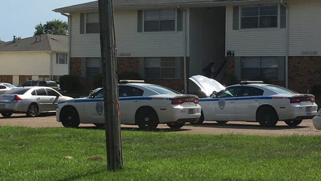 Jackson police responded to a drive-by shooting at North Hills Apartments on Monday.