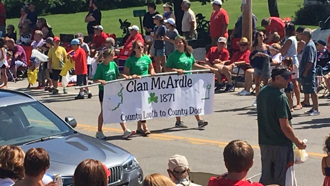 Clan McArdle marches in the Baileys Harbor Fourth of July parade.
