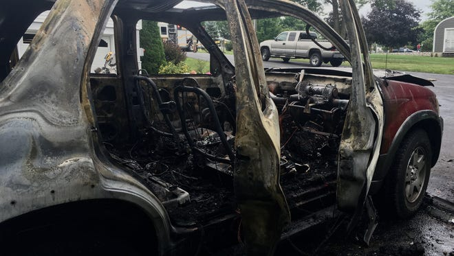 An SUV exploded, causing the driver to suffer burns before jumping out and being transported to a Washington DC hospital.