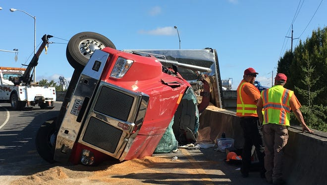 A rollover truck crash blocked the southbound Front Street off-ramp Wednesday morning.