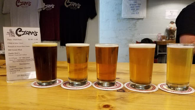 A beer flight at Czan's brewery in Nashville.