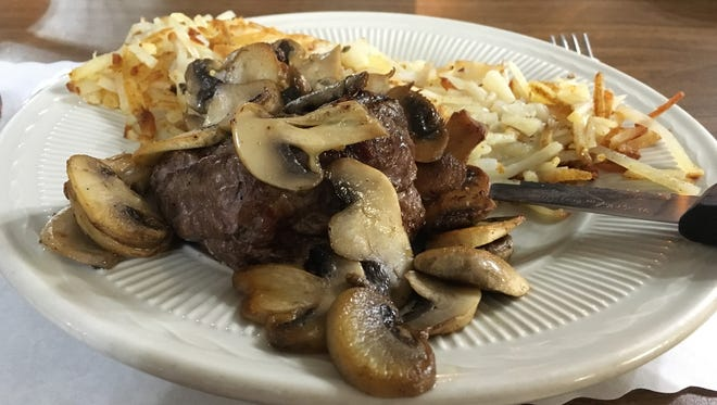 Petite filet with hash brown potatoes at Klemme's Wagon Wheel in Howards Grove.