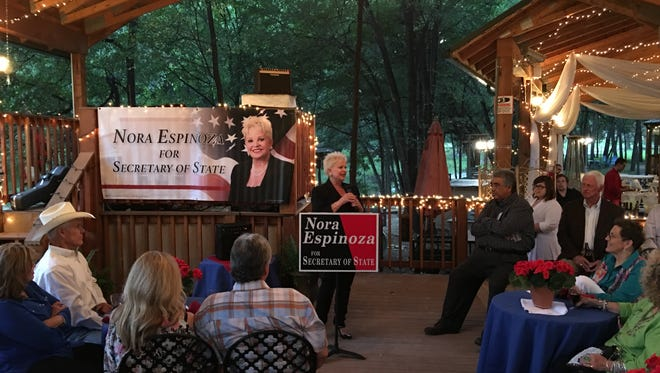 Secretary of state candidate Nora Espinoza talks up stronger voter ID laws at a Thursday fund-raiser at Sanctuary on the River.