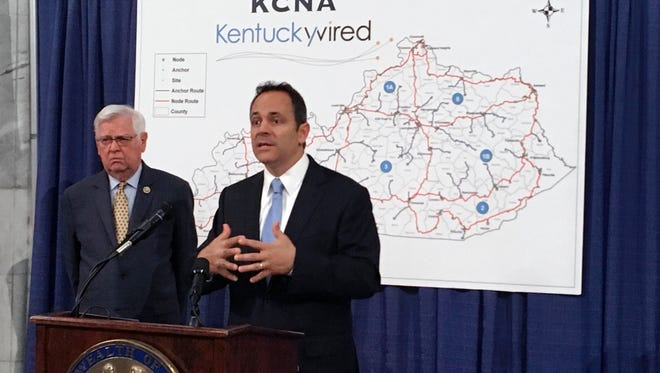 Gov. Matt Bevin, right, and U.S. Rep. Hal Rogers discuss the status of the statewide broadband network at the state Capitol on Friday, Sept. 16, 2016 in Frankfort. Bevin says the state has resolved a funding issue for a project to build a statewide broadband network despite not having all the details worked out.