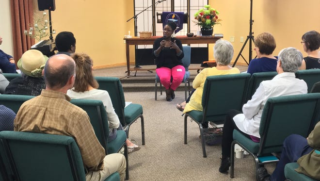 Brandi Grayson, founder of Young, Gifted and Black speaks to members of Open Circle Unitarian Universalist Fellowship in Fond du Lac on Sunday, Sept. 25.