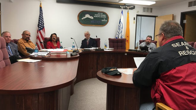 Dispatch supervisor James Marion, right, was one of many Ruidoso Downs Police Department members who urged the City Council to keep Chief Christopher Rupp on the job.