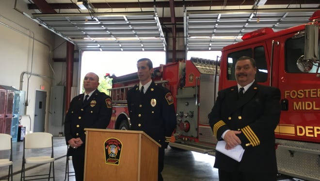 Fosterville-Midland Fire Department announced receiving at grant for more than $450,000 Thursday morning to be used in recruiting new members. From left are Assistant Chief William Steele, Chief Jake Levine and training Officer Scott Cooper.