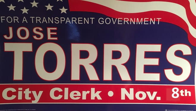 A campaign sign for Jose Torres.