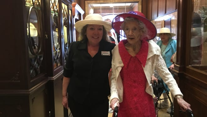 Minnie Radiel, 103, visited the Brown Palace, her longtime workplace, Sept. 30.