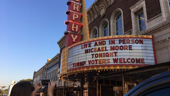 Filmmaker Michael Moore appeared Thursday night at