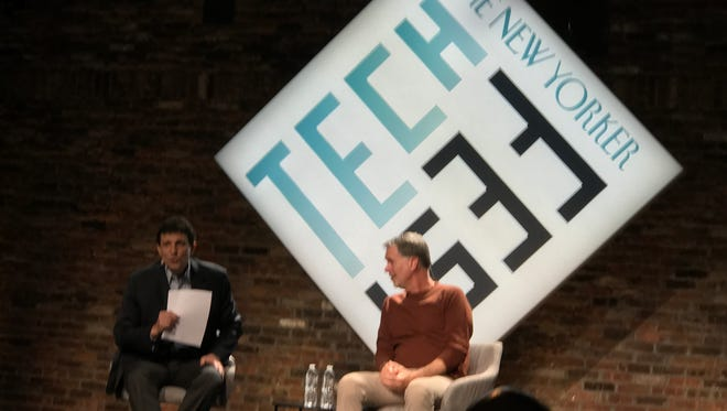 David Remnick and Reed Hastings on stage at The New Yorker Tech Fest.