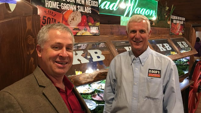 State Secretary of Agriculture Jeff Witte, left, was on hand Tuesday to help the Ruidoso K-BOB'S location celebrate the steakhouse chain's 50th. Restaurant owner Ed Tinsley poses here with him.