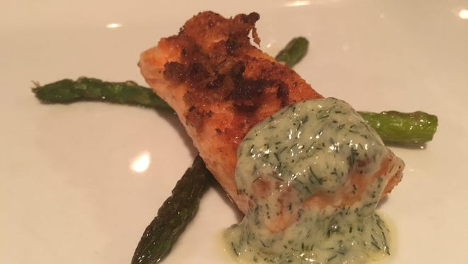 The winning entree in the Costa Academy cook-off was a salmon recipe with asparagus.