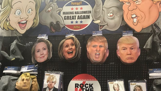 Political masks are a popular Halloween costume option for adults.