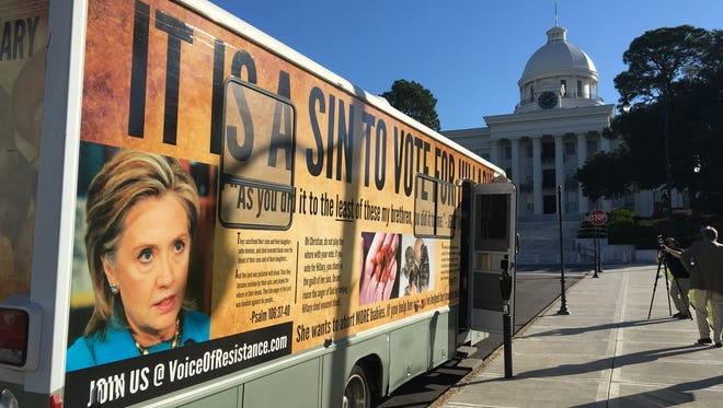 A bus sponsored by anti-abortion activist Randall Terry at the Alabama State Capitol on October 25, 2016.