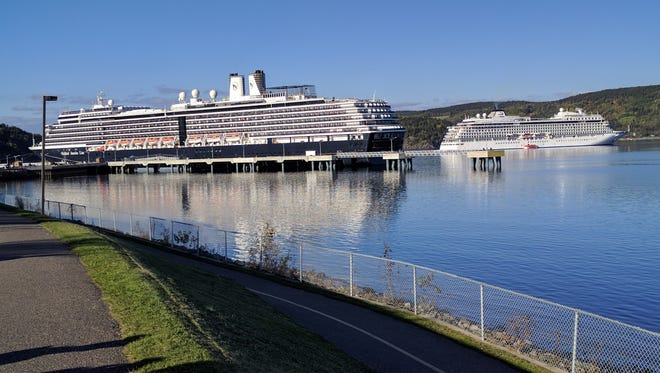 Even compared to a mid-size ship like Holland America's Zuiderdam, which carries 1,916 passengers, the 930-passenger Viking Star is dwarfed as seen here docked close by in Saguenay, Canada. Small ship cruising, while more expensive, is an increasingly popular option for its intimate atmosphere and all-inclusive pricing.