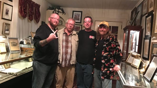 Mitch Miller; Richard Parker, co-owner of Wheatons Plantation; Griz McCurry and Tory Flenniken, from left, in the haunted house the night before their Halloween broadcast.