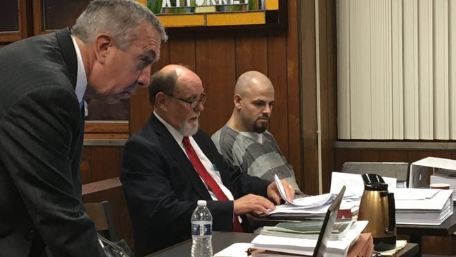 Monroe County Chief Assistant Prosecutor Michael Roehrig, defense attorney Russell Smith and defendant Daniel Clay appear for a Nov. 2, 2016, preliminary examination on second-degree murder in the death of Chelsea Bruck.